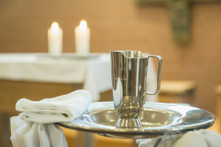 sacraments: Utensils of baptism, close-up LANG_EVOIMAGES