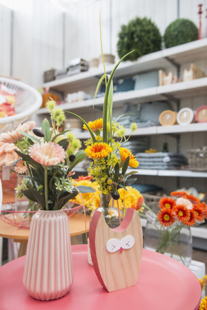 Artificial flowers for sale in garden centre, Augsburg, Bavaria, Germany
