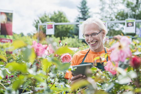 electronic book: Male gardener checking inventory with digital tablet in garden centre, Augsburg, Bavaria, Germany