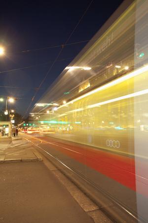 Tram night movement motion Vienna street speed