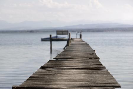 tranquillity: Boardwalk on the lake at sunset, Bavaria, Germany