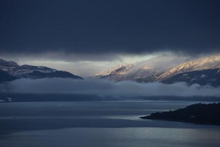thunderhead: Mountain landscape stormy snow dark sky winter