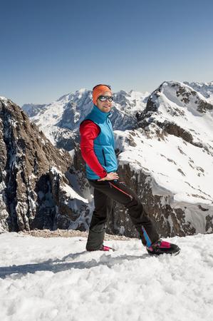 Young man at Plattkofel mountain, Santa Cristina, Valgardena, Alto Adige, Italy