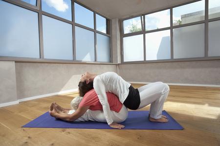 plainness: Female Yoga coach helping senior woman