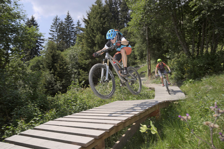 peace risk: Two mountain bikers riding on footbridge through forest, Zillertal, Tyrol, Austria