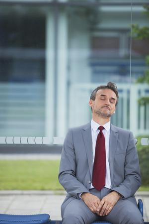 Businessman burnout tired sitting crisis crash