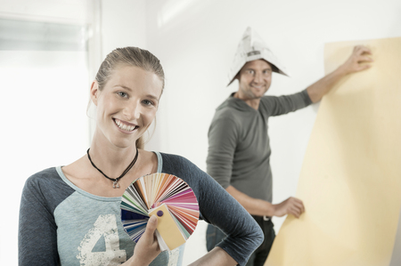 work from home: Couple renovating their home, Bavaria, Germany