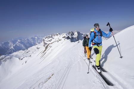 ski walking: Ski mountaineers climbing on snowy mountain, Tyrol, Austria