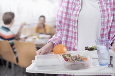 Midsection of a university student with lunch in canteen, Bavaria, Germany LANG_EVOIMAGES