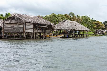 Warao-Indian houses at riverside, Orinoco Delta, Venezuela LANG_EVOIMAGES