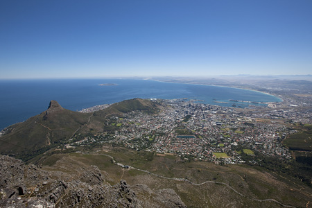 financial cliff: Lions Head viewed from Table Mountain, Cape Town, Western Cape Province, South Africa LANG_EVOIMAGES