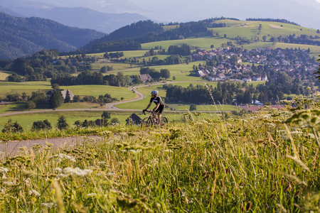 Mountain biker riding on road amidst green field LANG_EVOIMAGES