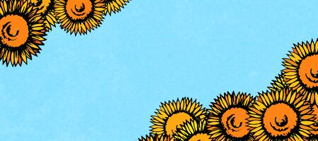 Background material designed with sunflower motif Фото со стока