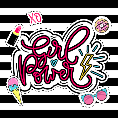 Girl power vector illustration. Modern feminism quote with calligraphy. Inspirational phrase with ice-cream, lipstick, donut, sunglasses elements.