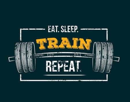 Comer repetir el tren del sueño. Cita motivacional de gimnasio con efecto grunge y barra. Cartel de entrenamiento inspirador. Diseño vectorial para gimnasio, textil, afiches, camisetas, portadas, banners, tarjetas, estuches, etc.