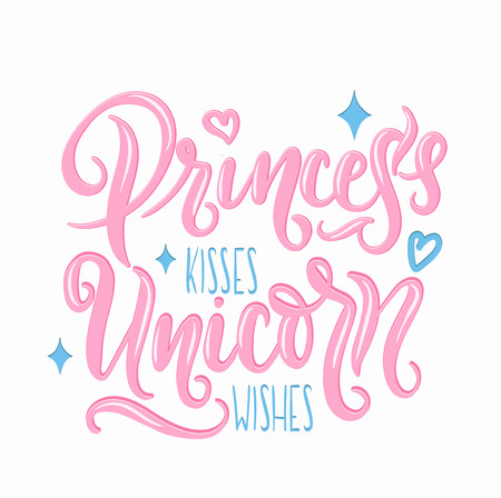 Princess kisses, Unicorn wishes quotation elements and lettering. Inspirational quote with stars and hearts. Summer t-shirts print, invitation, poster. Vettoriali