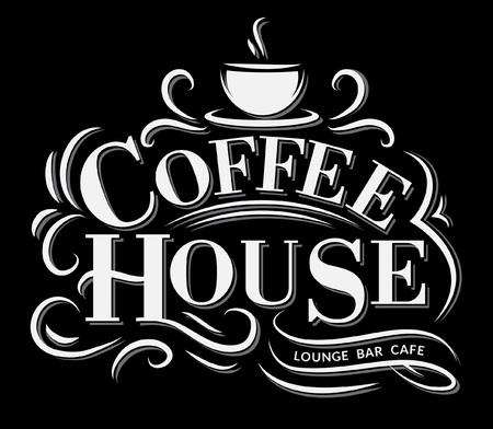 Coffee house Logo with grunge effect. Retro coffee logo. Vector illustration