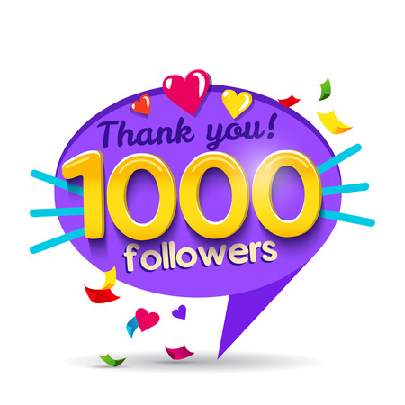 Thank you 1000 followers network card. Vector design template for friends, subscribers and followers. Banner for Social Networks. Card for user who celebrates a big number of followers. Standard-Bild - 90827920