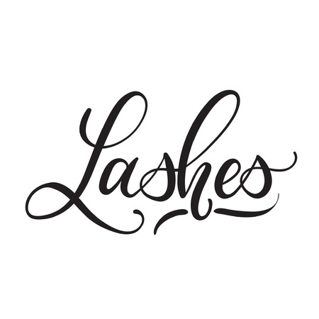 Lashes lettering logo design. Vector hand drawn lettering. Calligraphy phrase for lash makers logo, cards, prints, beauty blogs.