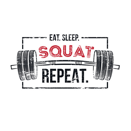 Gym motivational quote with grunge effect and barbell