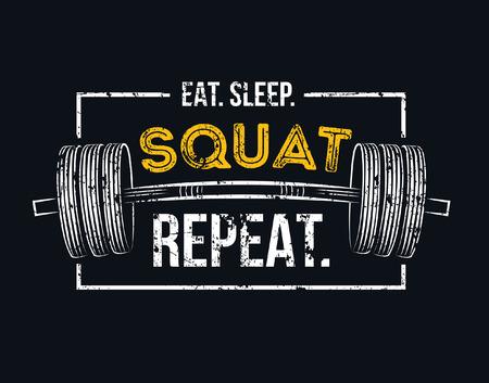 Jedz powtórz przysiady podczas snu. Siłownia motywacyjny cytat z efektem grunge i sztangą. Inspirujący plakat treningowy. Projekt wektorowy na siłownię, tekstylia, plakaty, t-shirt, okładkę, baner, karty, etui itp.