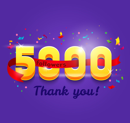 Thank you 5000 followers network card. Vector design template for friends, subscribers and followers. Banner for Social Networks. Card for user who celebrates a big number of followers. Illustration