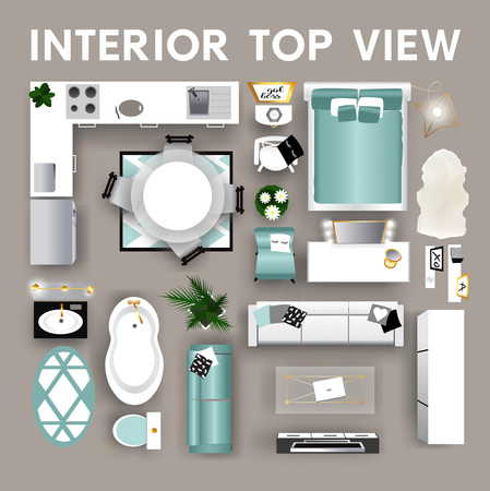 Interior top view. Set of isolated realistic interior icon. Vector illustration