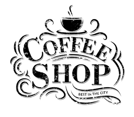 Retro Vintage Coffee Logo with Lettering. Coffee Shop Label with flourish ornaments.