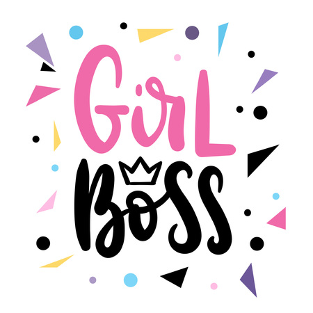 Girl boss quotation with handdrawn lettering and golden heart. Vector motivational poster.