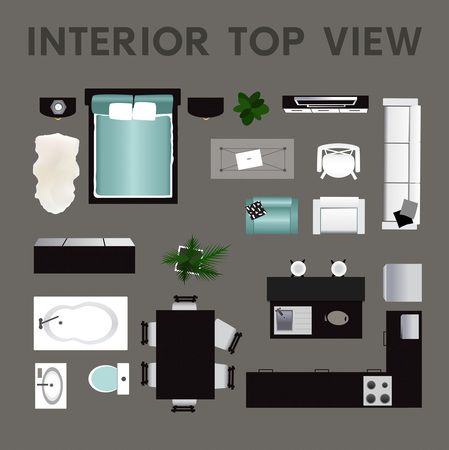 Bovenaanzicht van het interieur. Verzameling van geïsoleerde realistische interieur pictogram. Vector illustratie Stock Illustratie