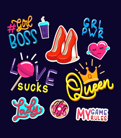 Colorful female or girly stickers and badges set illustration. Ilustração