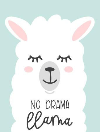 No drama llama cute card with cartoon llama design print.