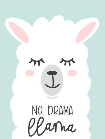 No drama llama cute card with cartoon llama design print.