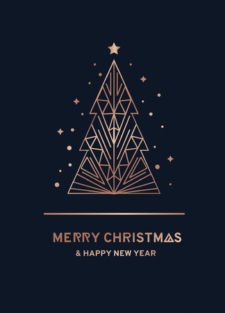 Merry Christmas and Happy New Year rose gold greeting card. Minimalistic christmas card on a navy blue background. Linear Christmas tree with stars and snowflakes. Vector illustration Vectores