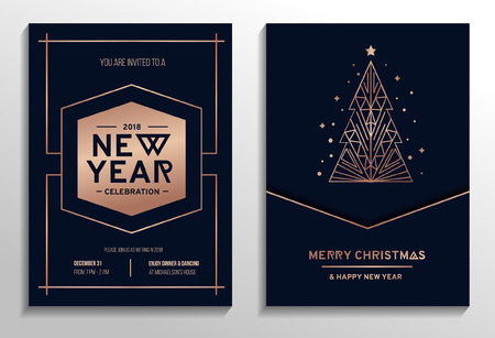New year party rose gold invitation. Geometric christmas design with rose gold tree. New year greeting card. Vector illustration Vettoriali