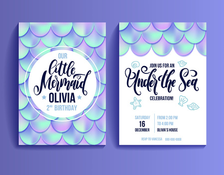 Birthday Party Card for little girl. Holographic fish scales and lettering invitation. Sea party invitation. Vector illustration