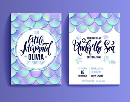 Tarjeta de fiesta de cumpleaños para niña. Escamas de pescado holográficas e invitación de letras. Invitación a fiesta de mar. Ilustración vectorial