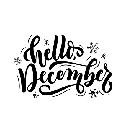 Hello december lettering card with snowlakes. Hand drawn inspirational winter quote with doodles. Winter greeting card. Motivational print for invitation cards, brochures, poster, t-shirts, mugs Vectores