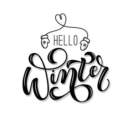 Hello winter lettering card. Hand drawn inspirational winter quote with doodles. Winter greeting card. Motivational print for invitation cards, brochures, poster, t-shirts, mugs Vectores