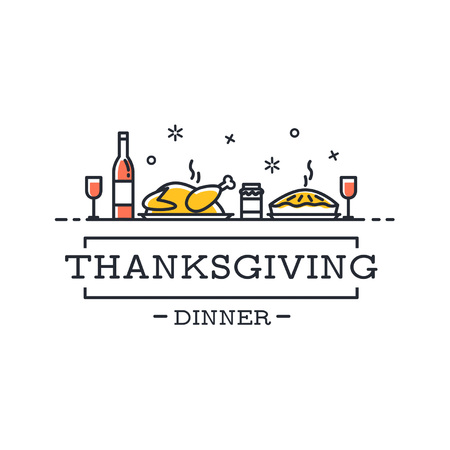 Thanksgiving dinner card in minimalistic design. Thanksgiving Day modern card with on white background