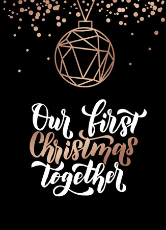 Our first christmas together. Merry Christmas and Happy New Year rose gold greeting card. Minimalistic christmas card on navy blue background. Linear Christmas decorations with confetti. Çizim