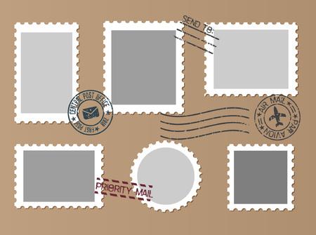 Post marks set on craft paper Background. Set of Blank Postage Stamps. Vector illustration