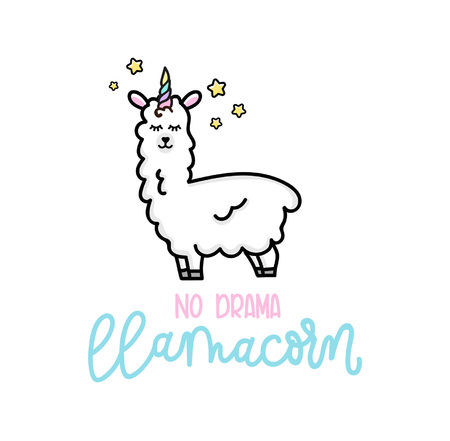 Llama unicorn with stars inspirational poster hand drawn cute lettering Illustration