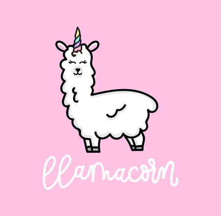 Llama unicorn with stars inspirational hand drawn cute poster lettering on pink background Illustration