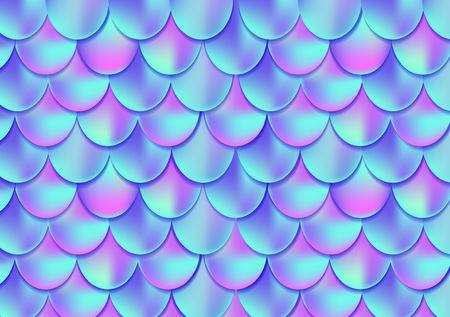 Holographic mermaid tail card or background. Mesh Gradient mermaid card for party. Mermaid card decor element. Fish skin magic background. Print design for textile, posters, greeting cards, cases etc.