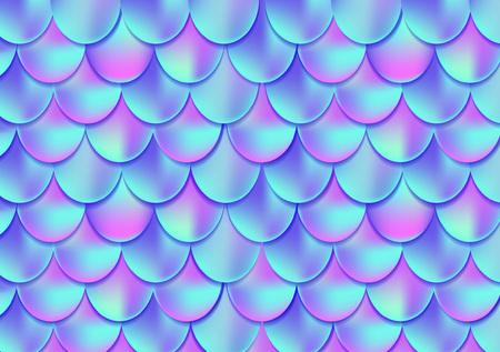 Holographische Meerjungfrauschwanzkarte oder -hintergrund. Maschen-Steigungs-Meerjungfraukarte für Party. Meerjungfrau Karte Dekorelement. Fischhaut Magie Hintergrund. Printdesign für Textilien, Plakate, Grußkarten, Etuis etc.