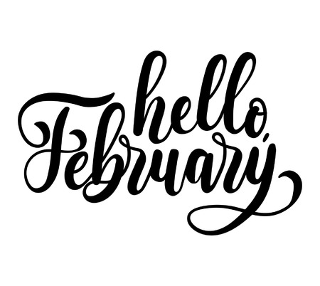 Hello february lettering card with snowlakes. Hand drawn inspirational winter quote  with doodles. Winter greeting card. Motivational print for invitation cards, brochures, poster, t-shirts, mugs.