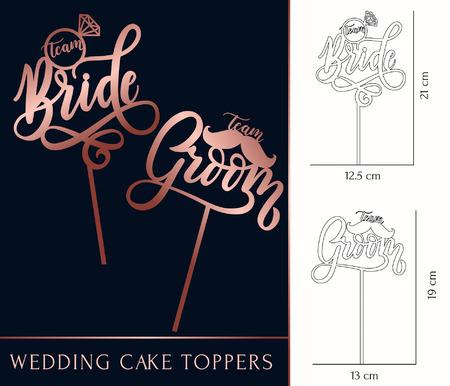 team Bride and team Groom cake toppers for laser or milling cut. Wedding rose gold lettering. Vector illustration Stock Illustratie