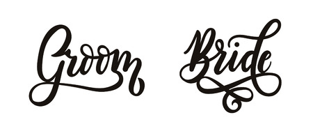 Bride and Groom cake lettering inscriptions. Wedding calligraphy. Vector illustration