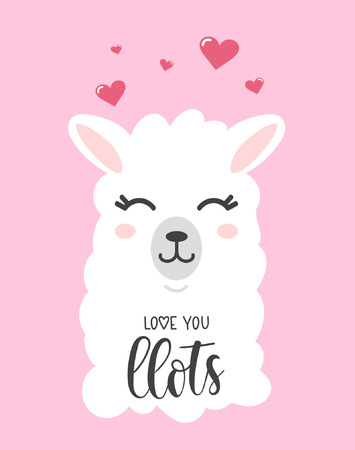 Love you llots llama quote with doodles vector illustration
